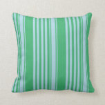[ Thumbnail: Sea Green & Light Blue Colored Lines Pattern Throw Pillow ]