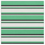 [ Thumbnail: Sea Green, Light Cyan & Black Colored Pattern Fabric ]