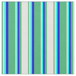 [ Thumbnail: Sea Green, Light Cyan, Cyan, and Blue Lines Fabric ]