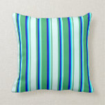 [ Thumbnail: Sea Green, Light Cyan, Cyan, and Blue Lines Pillow ]