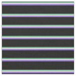 [ Thumbnail: Sea Green, Light Cyan, Purple, and Black Stripes Fabric ]