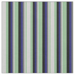 [ Thumbnail: Sea Green, Light Gray, Dim Gray, Blue & Black Fabric ]