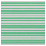 [ Thumbnail: Sea Green & Light Gray Stripes/Lines Pattern Fabric ]