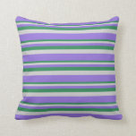 [ Thumbnail: Sea Green, Light Grey, and Purple Colored Pattern Throw Pillow ]