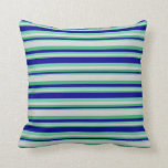 [ Thumbnail: Sea Green, Light Grey, Aquamarine & Dark Blue Throw Pillow ]
