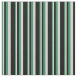 [ Thumbnail: Sea Green, Light Grey & Black Pattern of Stripes Fabric ]