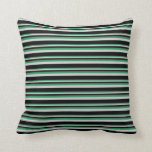 [ Thumbnail: Sea Green, Light Grey & Black Pattern of Stripes Throw Pillow ]