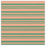 [ Thumbnail: Sea Green & Light Salmon Colored Stripes Fabric ]
