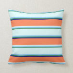 [ Thumbnail: Sea Green, Light Sky Blue, Light Cyan, Coral, Blue Throw Pillow ]