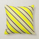[ Thumbnail: Sea Green, Maroon, Pale Goldenrod, Yellow & White Throw Pillow ]
