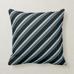 [ Thumbnail: Sea Green, Midnight Blue, Grey, Turquoise & Black Throw Pillow ]