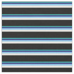 [ Thumbnail: Sea Green, Midnight Blue, Sky Blue, White & Black Fabric ]