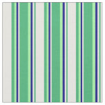 [ Thumbnail: Sea Green, Mint Cream, Blue & Green Colored Lines Fabric ]