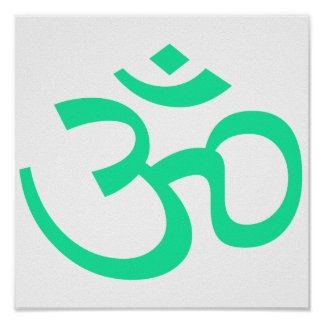 Sea Green Om or Aum ॐ.png Poster