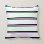 [ Thumbnail: Sea Green, Orchid, Black, and Mint Cream Colored Throw Pillow ]