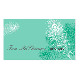 Sea Green Peacock Feather Festive Business Card Template