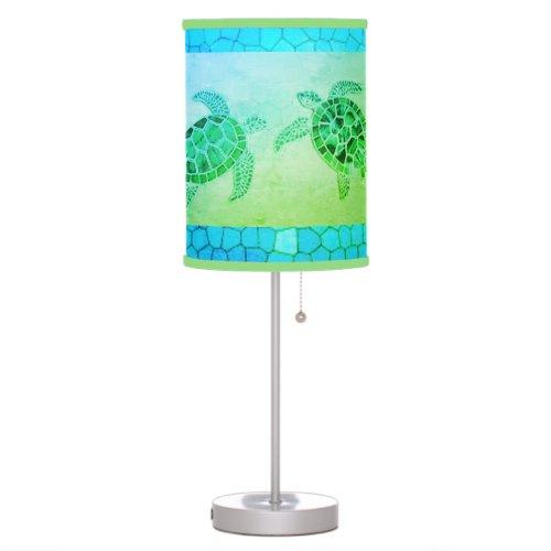 Sea Green Pebble Turtle Table Lamp