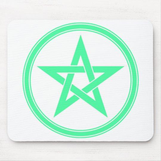 Sea Green Pentacle Pentagram Mouse Pad