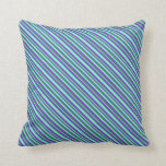[ Thumbnail: Sea Green, Purple & Aquamarine Lines Throw Pillow ]