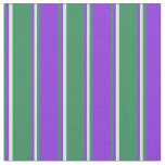 [ Thumbnail: Sea Green, Purple & Lavender Colored Stripes Fabric ]