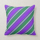 [ Thumbnail: Sea Green, Purple & Lavender Colored Stripes Throw Pillow ]