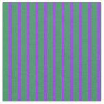 [ Thumbnail: Sea Green & Purple Lined Pattern Fabric ]