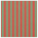 [ Thumbnail: Sea Green & Red Stripes Fabric ]