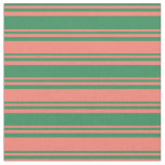 [ Thumbnail: Sea Green & Salmon Colored Striped/Lined Pattern Fabric ]