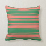 [ Thumbnail: Sea Green & Salmon Colored Striped/Lined Pattern Throw Pillow ]