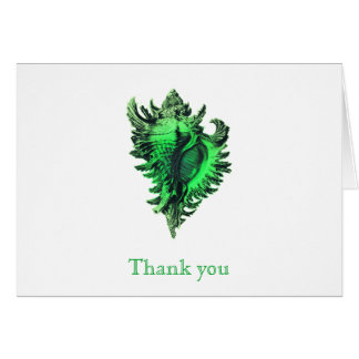 Sea Green Sea Shell Thank You Note Cards