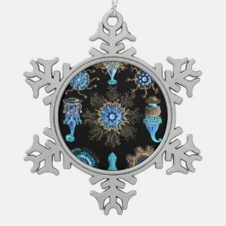 Sea Green Siphonophorae Snowflake Pewter Christmas Ornament