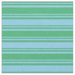[ Thumbnail: Sea Green & Sky Blue Colored Pattern Fabric ]