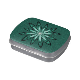 Sea Green Star Flower Bokeh Candy Tin Jelly Beans Jelly Belly Candy Tin