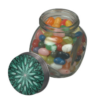 Sea Green Star Flower Glass Candy Jar Jelly Beans Jelly Belly Candy Jars