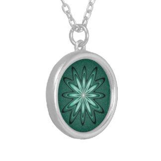 Sea Green Star Flower on Bokeh Necklace