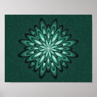 Sea Green Star Flower on Bokeh Poster Print