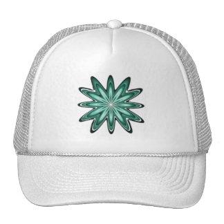 Sea Green Star Flower on Bokeh Trucker Hat Cap
