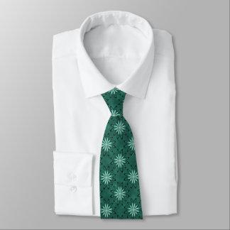 Sea Green Star Flowers on Bokeh Tie