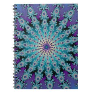 Sea Green Star Fractal Spiral Notebook