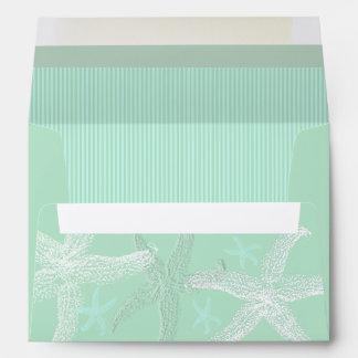 Sea Green Starfish A7 Wedding Envelopes