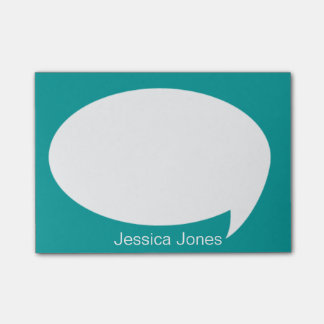 Sea Green Talk Bubble Rounded Personalized Post-it® Notes
