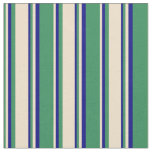 [ Thumbnail: Sea Green, Tan, and Blue Colored Stripes Fabric ]