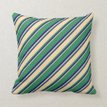 [ Thumbnail: Sea Green, Tan, and Blue Colored Stripes Pillow ]