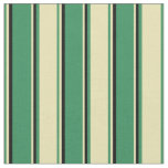 [ Thumbnail: Sea Green, Tan & Black Colored Stripes Fabric ]
