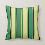 [ Thumbnail: Sea Green, Tan & Black Colored Stripes Pillow ]