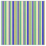 [ Thumbnail: Sea Green, Tan, Blue & Dark Khaki Colored Stripes Fabric ]