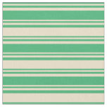 [ Thumbnail: Sea Green & Tan Colored Lined Pattern Fabric ]