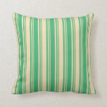 [ Thumbnail: Sea Green & Tan Colored Lined Pattern Throw Pillow ]