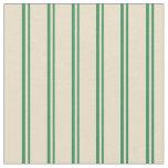 [ Thumbnail: Sea Green & Tan Colored Stripes Fabric ]