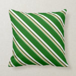 [ Thumbnail: Sea Green, Tan, Olive Green, White & Dark Green Throw Pillow ]